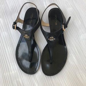 Coach 'Vitalia' Black Leather Sandal